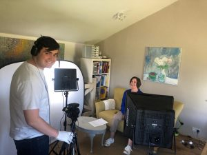 My son and I filming a new You Tube course